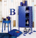 Blue cabinet and other blue decor