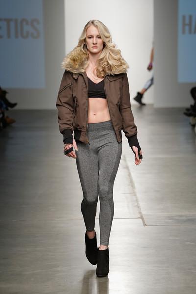 USA Women's Hockey Player, Brianne McLaughlin walks in her first runway show during New York Fashion Week representing online retailer, HauteAthletics.com.