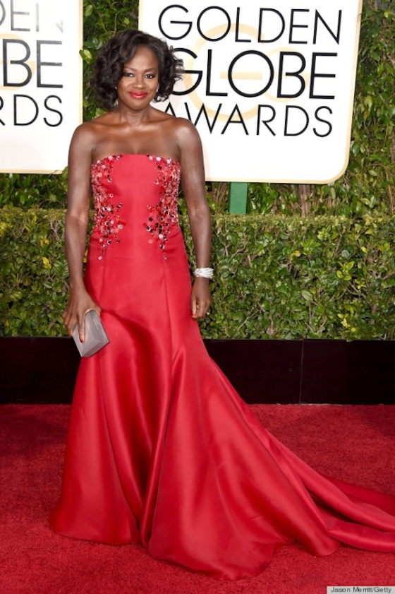 Viola Davis attends the 72nd Annual Golden Globe Awards in a red dress. Photo: Jason Merritt/Getty Images